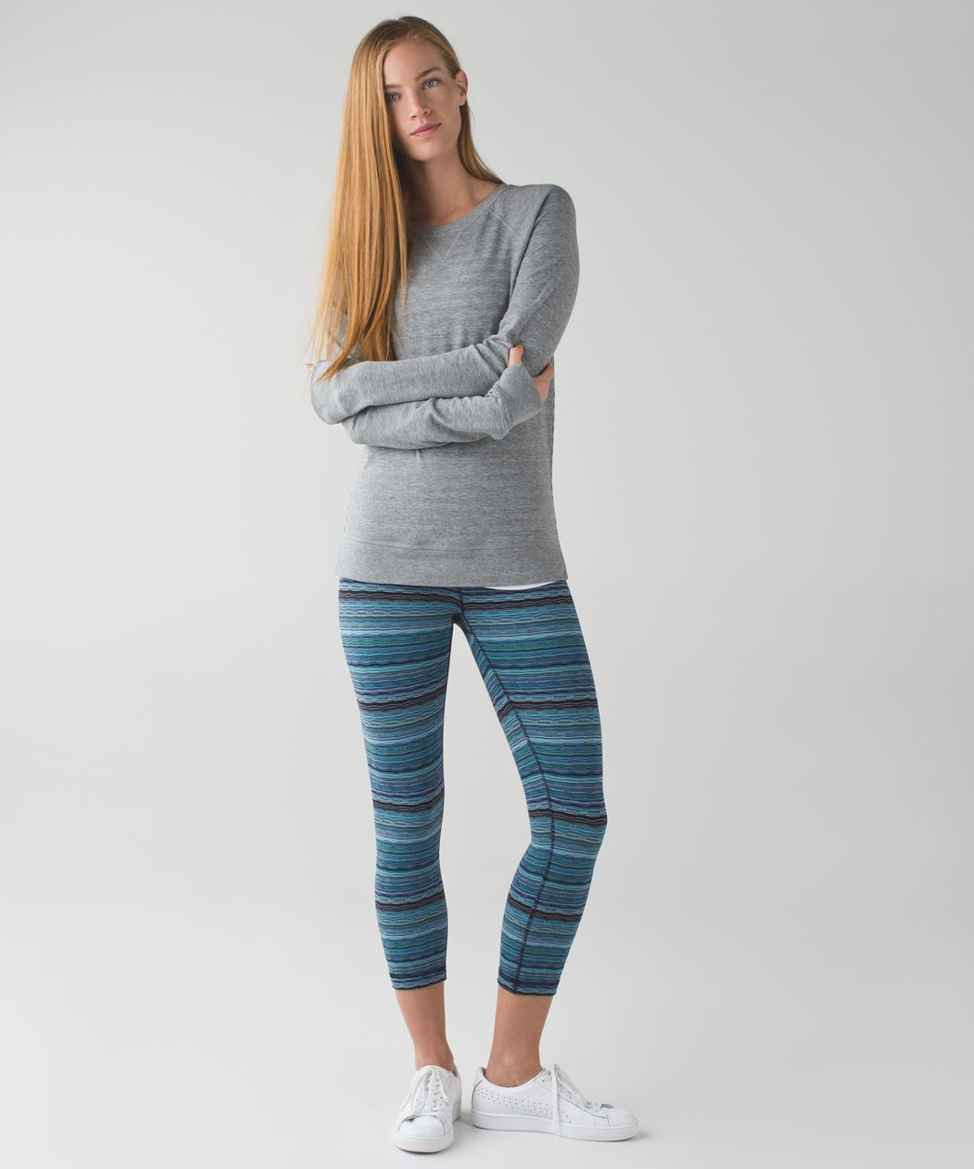 Lululemon Wunder Under Crop (Hi-Rise) - Space Dye Twist Naval Blue Peacock Blue