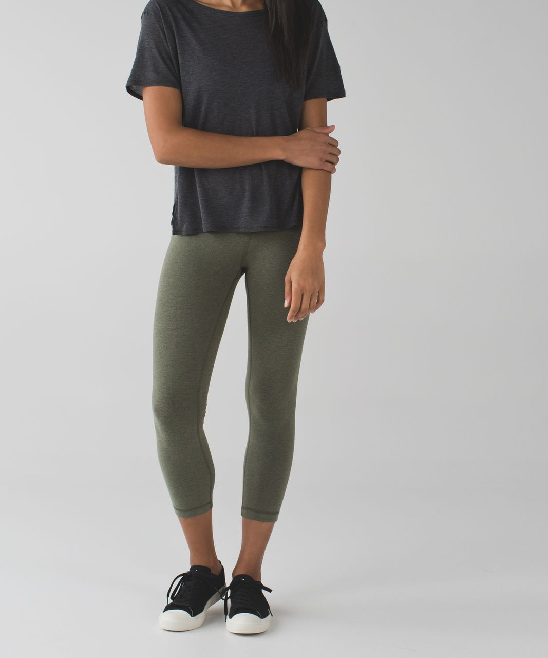 Lululemon Wunder Under Crop III *Cotton - Heathered Fatigue Green