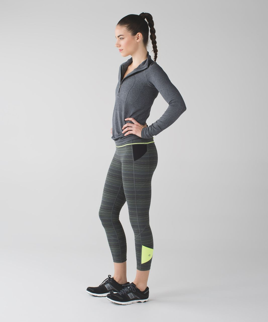 "Lululemon Pace Rival Crop *22"" - Space Dye Twist Dark Slate Fatigue Green / Ray"