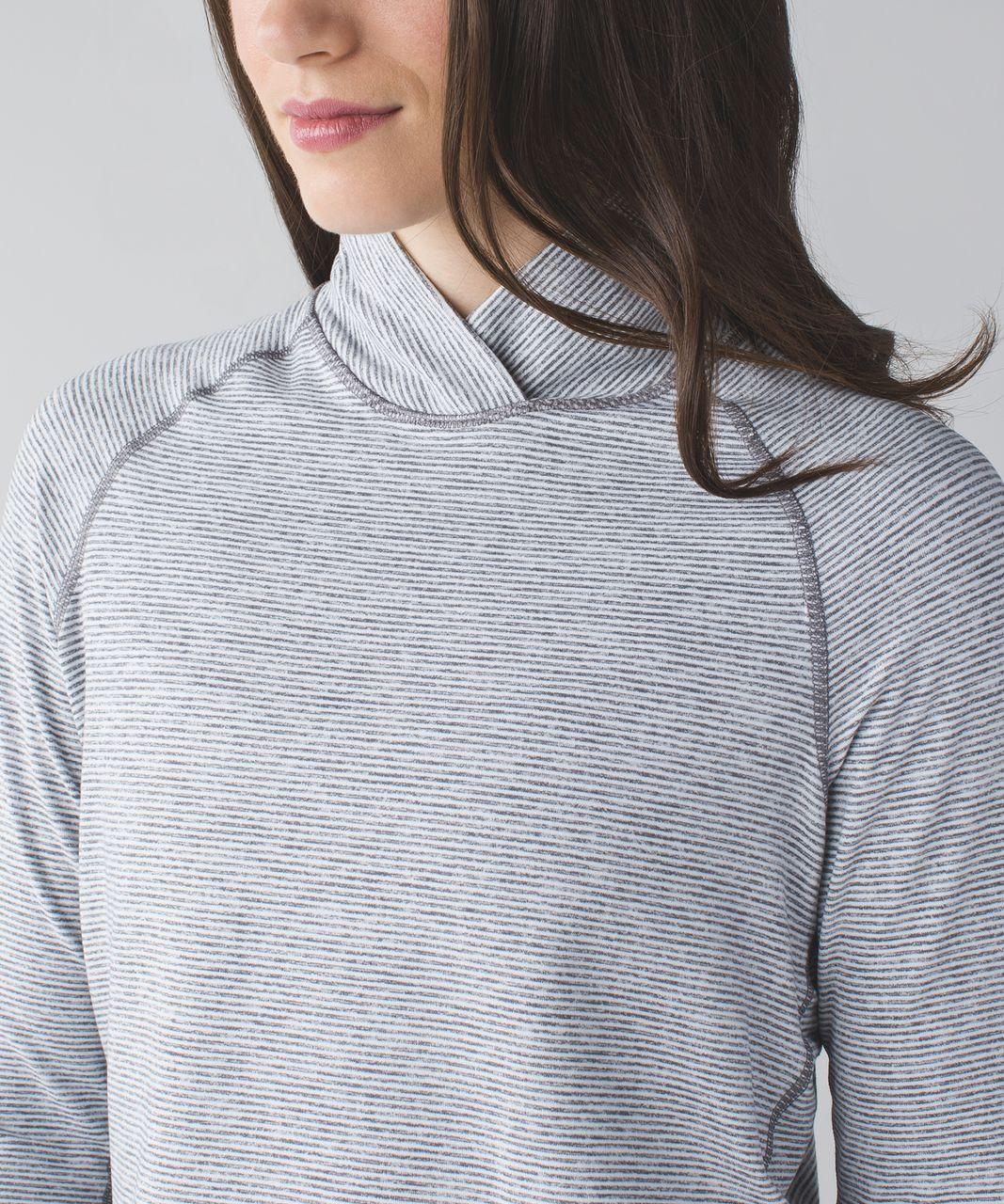 Lululemon Warm Your Core Long Sleeve Tee - Tonka Stripe Heathered Slate White