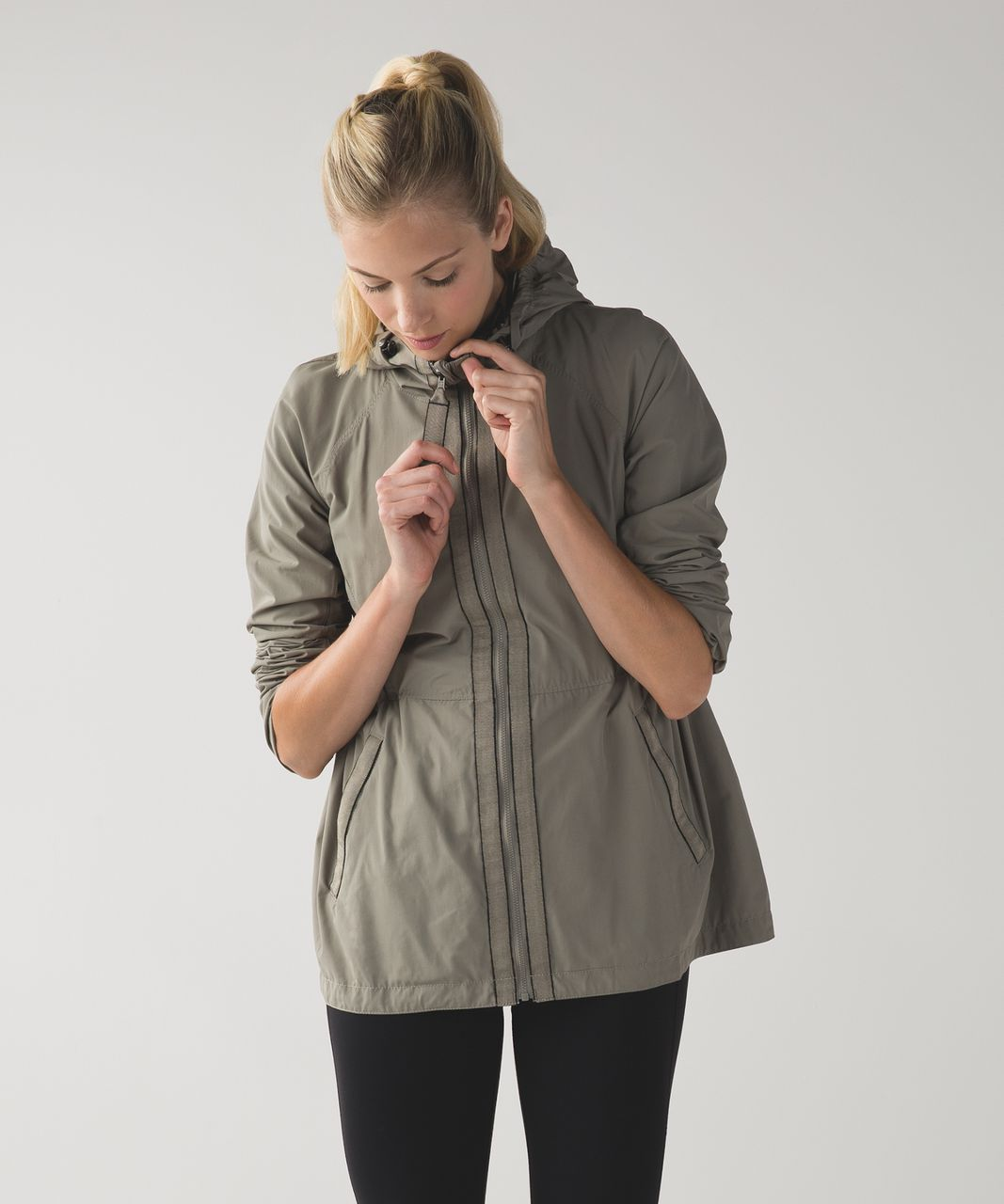 Lululemon Rain for Daze Jacket - Soft Earth / Narrow Bold Stripe Printed Soft Earth Black
