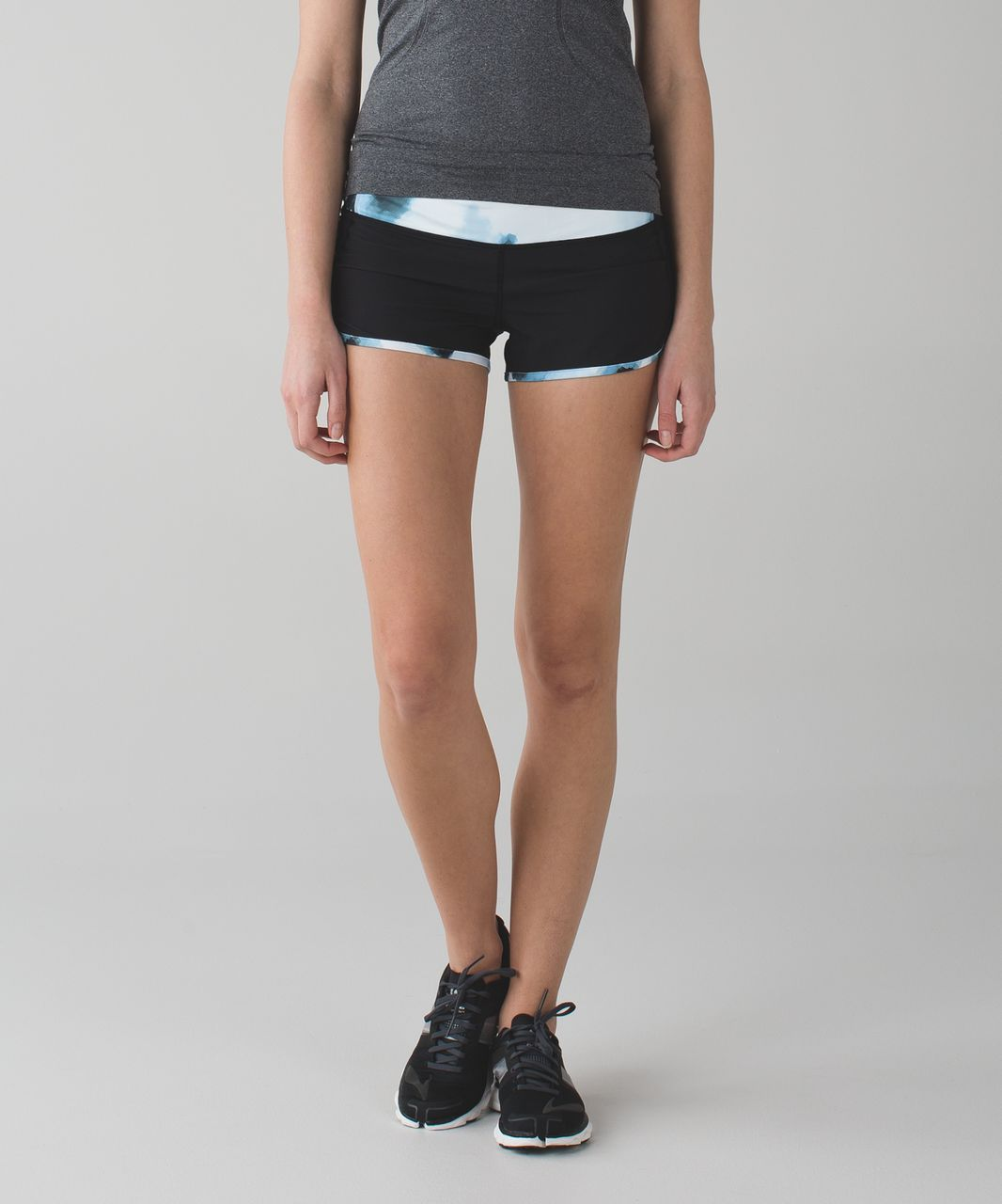 Lululemon Run:  Speed Short *4-way Stretch - Black / Blooming Pixie Aquamarine Multi