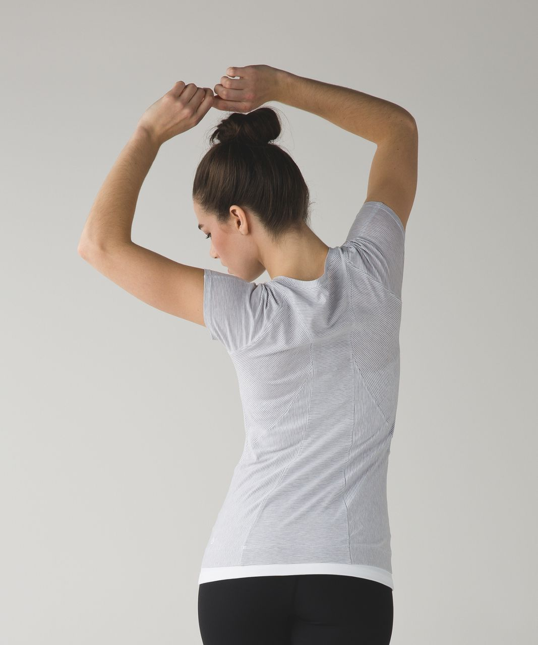 Lululemon Let Be Short Sleeve Tee - Tonka Stripe White Heathered Lavender Grey