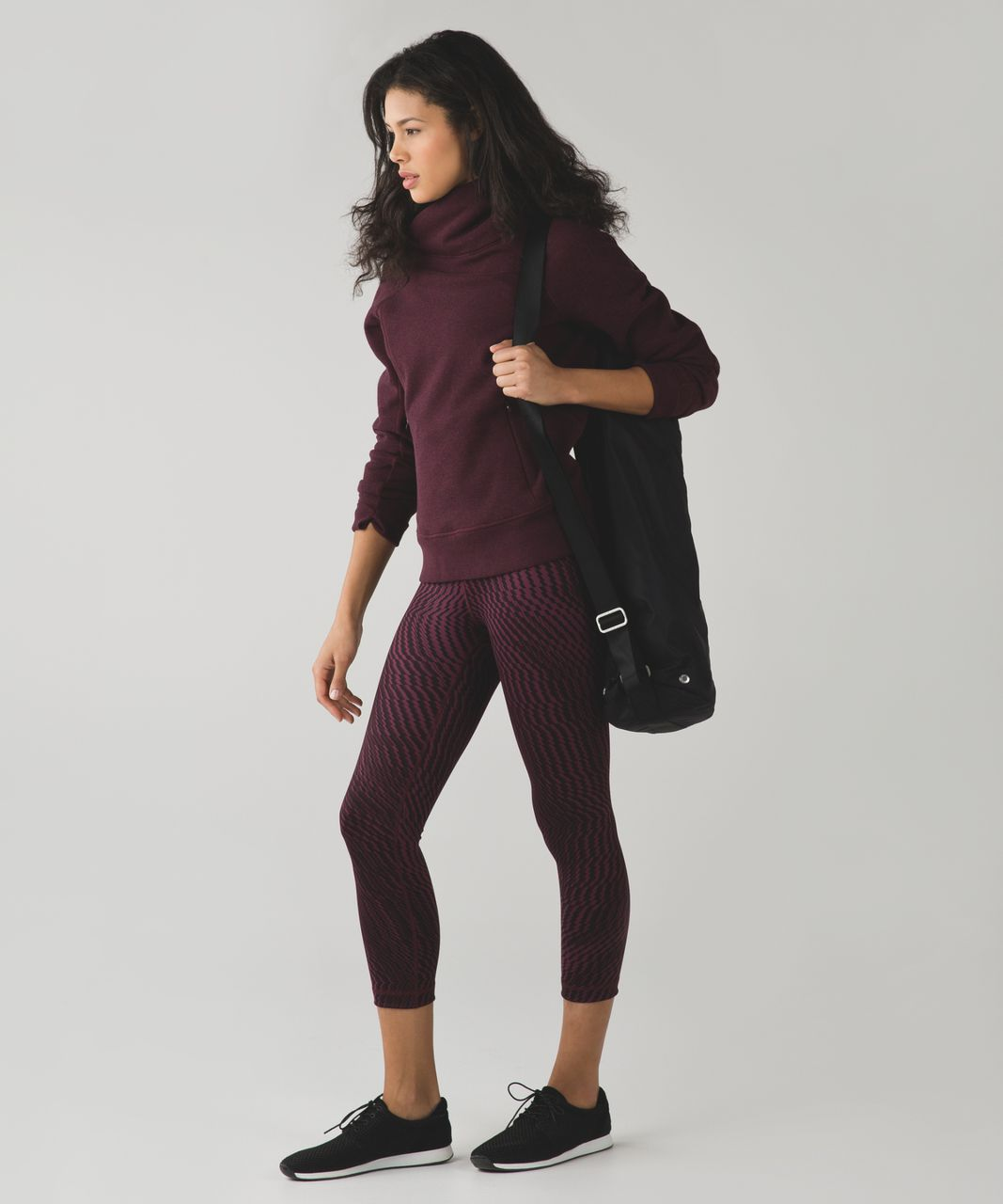 Lululemon Wunder Under Crop (Hi-Rise) *Full-On Luon - Shifted Horizon Red Grape Black
