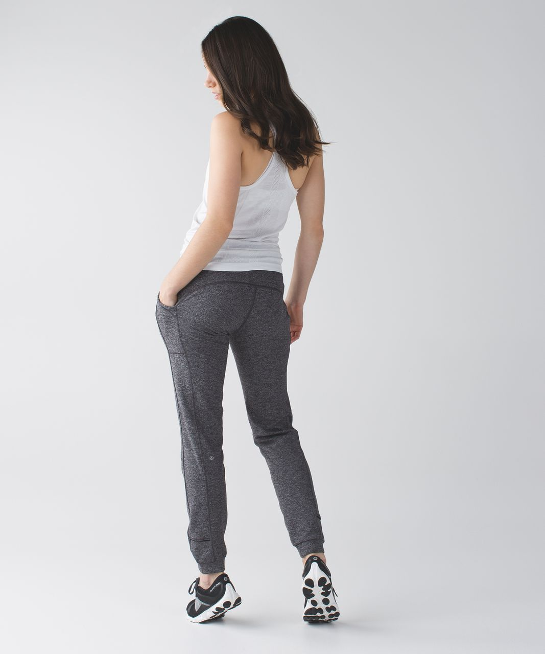 Lululemon Base Runner Pant III - Hyper Stripe Heathered Battleship Heathered Black