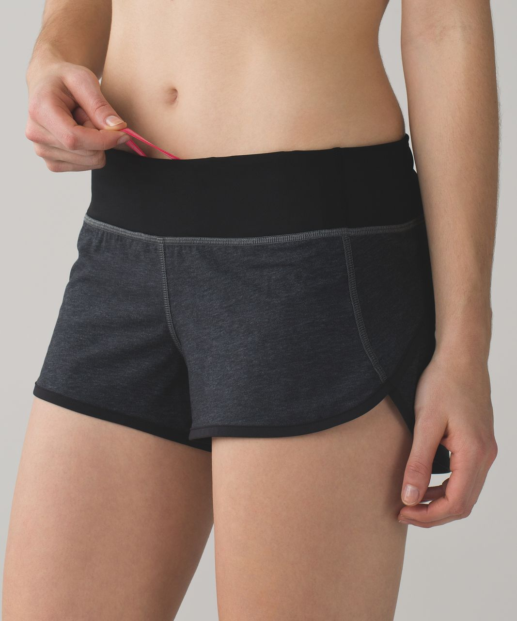"Lululemon Speed Short *4-way Stretch 2.5"" - Heathered Black / Black / Boom Juice"