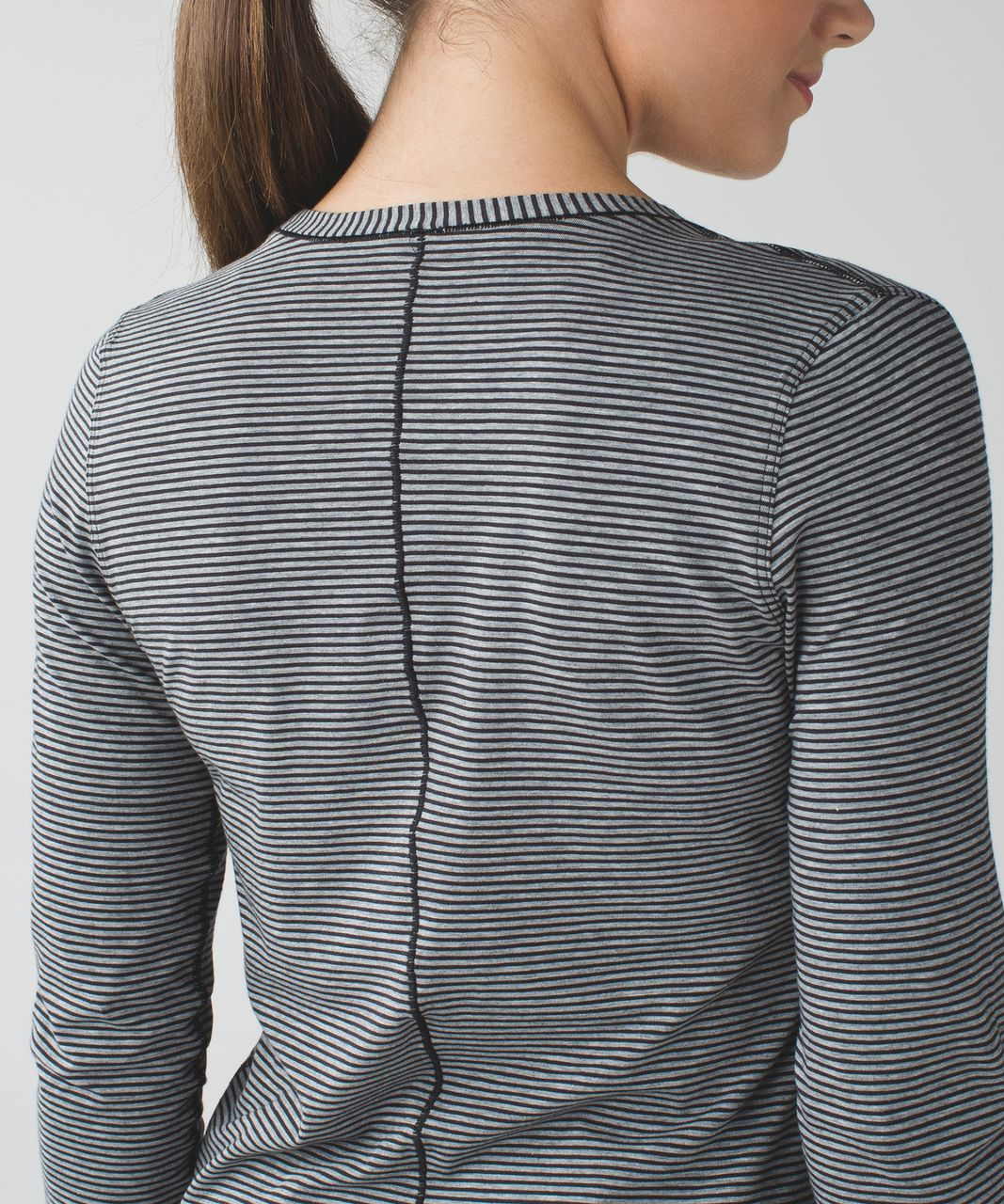 Lululemon Circadian Long Sleeve V Neck Tee - Mini Pop Stripe Heathered Medium Grey Black