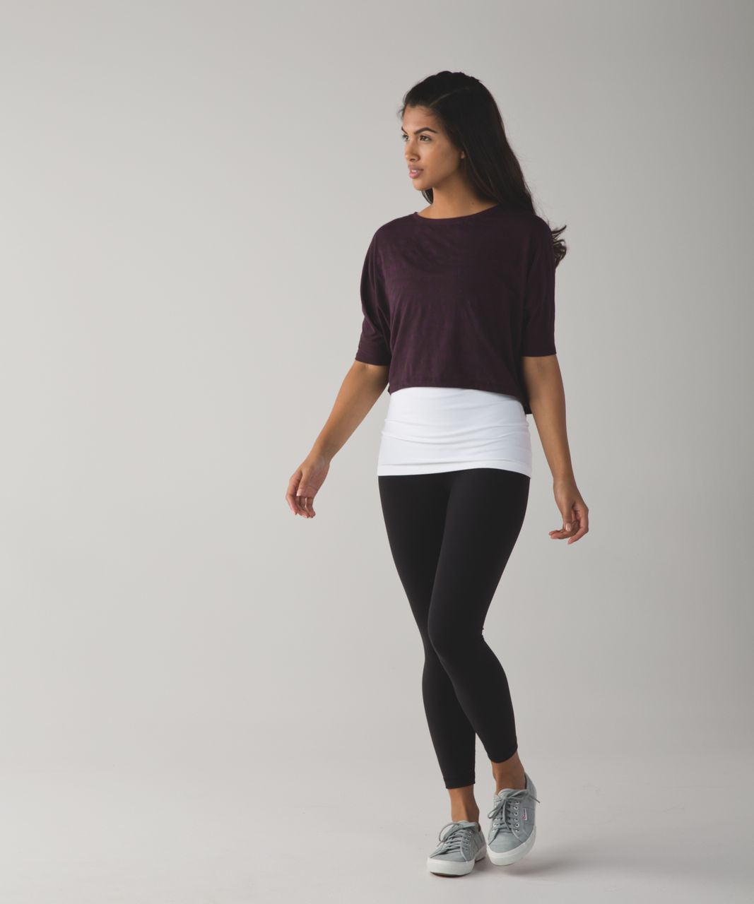 Lululemon Go Om Short Sleeve Tee - Mini Ghost Weave Burnout Black Cherry / Black Cherry