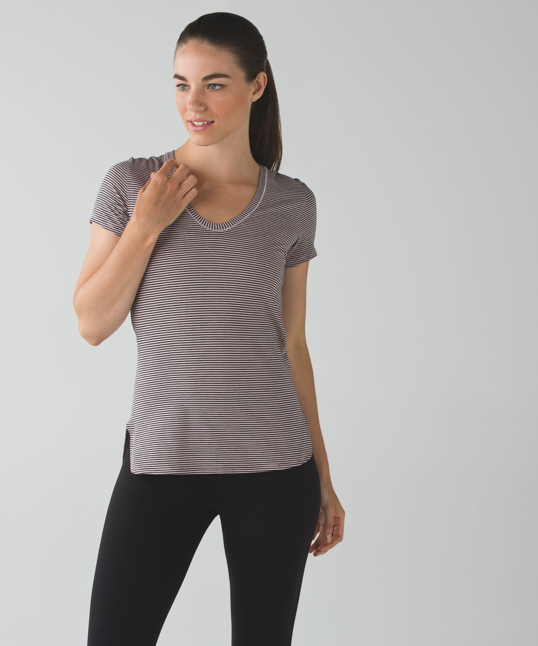 Lululemon Circadian Short Sleeve Tee - Mini Pop Stripe Mink Berry Black