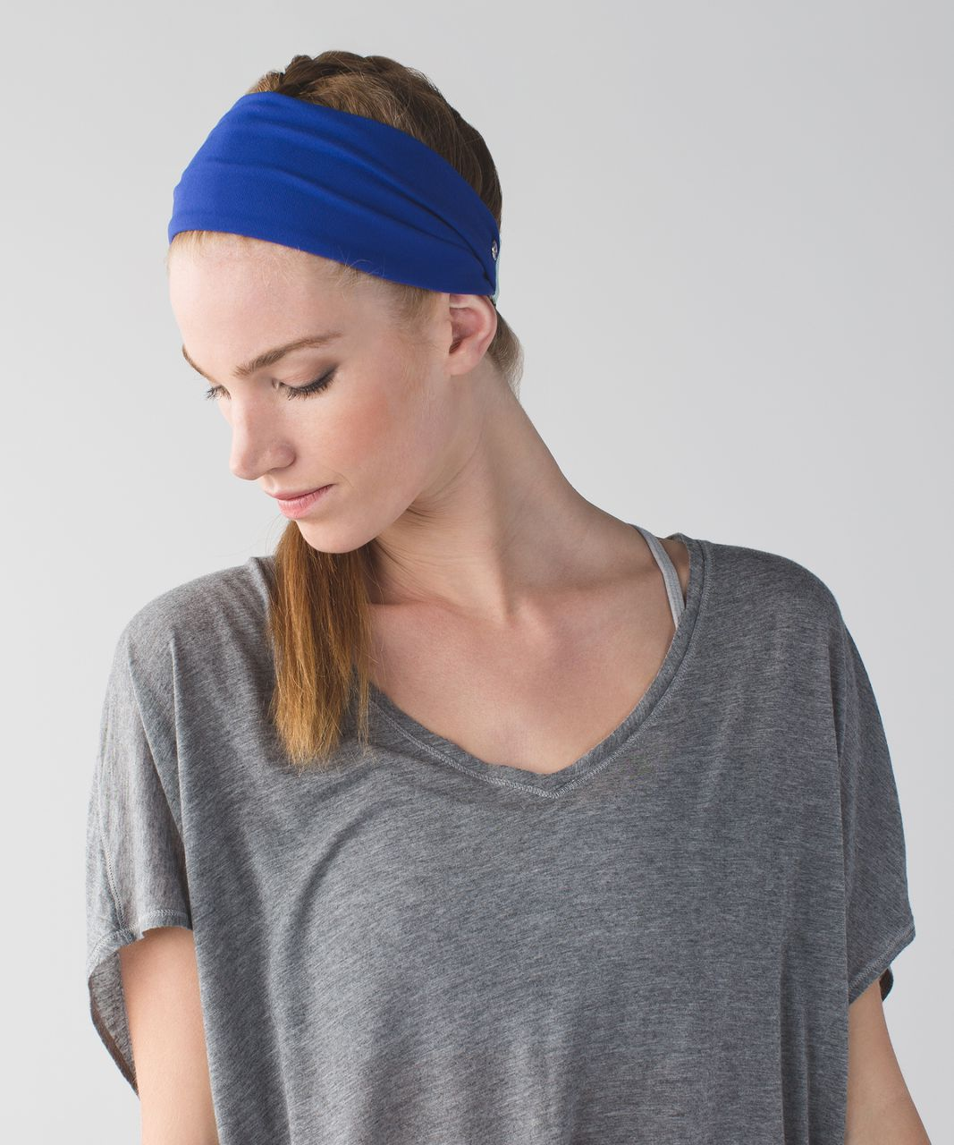 c86ad4aa7c1 Lululemon Fringe Fighter Headband - Sapphire Blue / Heathered Sea Mist -  lulu fanatics
