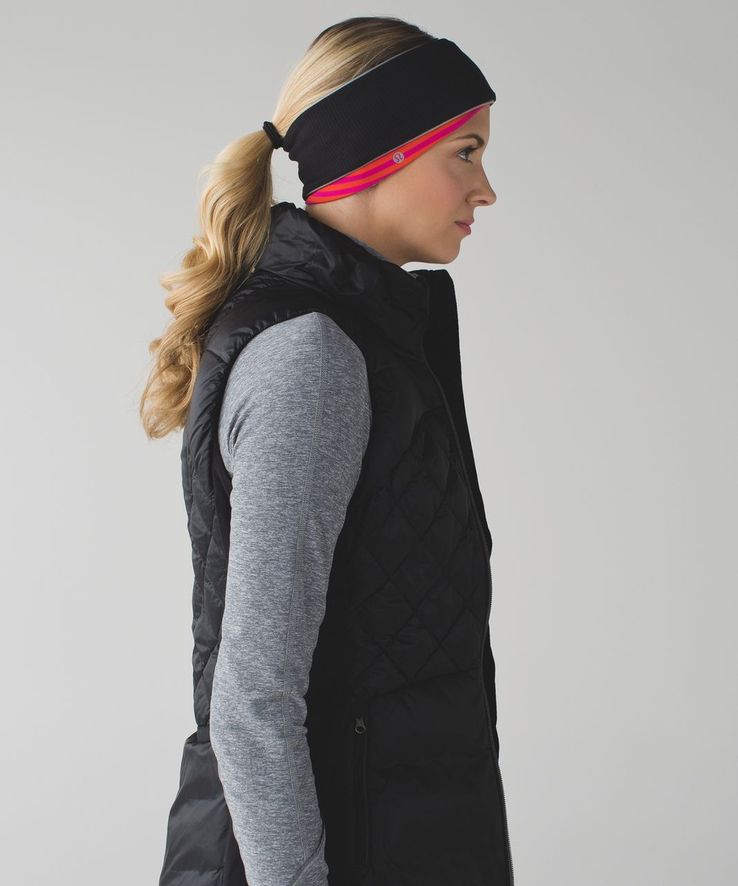 Lululemon Run And Done Ear Warmer - Classic Stripe Jewelled Magenta Red October / Jewelled Magenta / Black