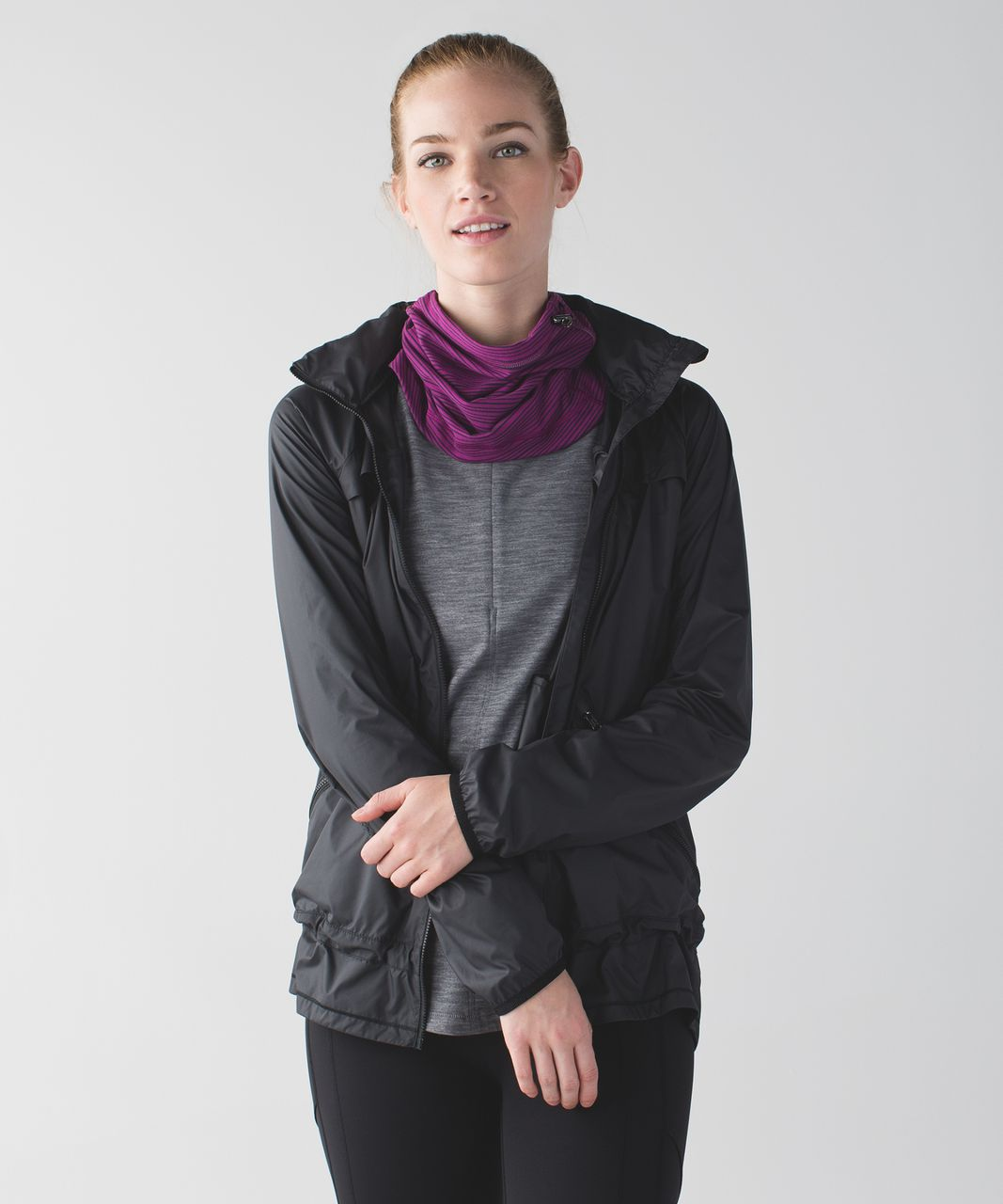 Lululemon Run And Done Neck Warmer - Kanto Stripe Regal Plum Naval Blue
