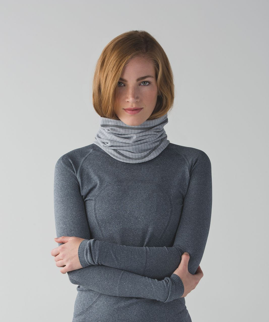 Lululemon Run And Done Neck Warmer - Heathered Herringbone Heathered White Slate
