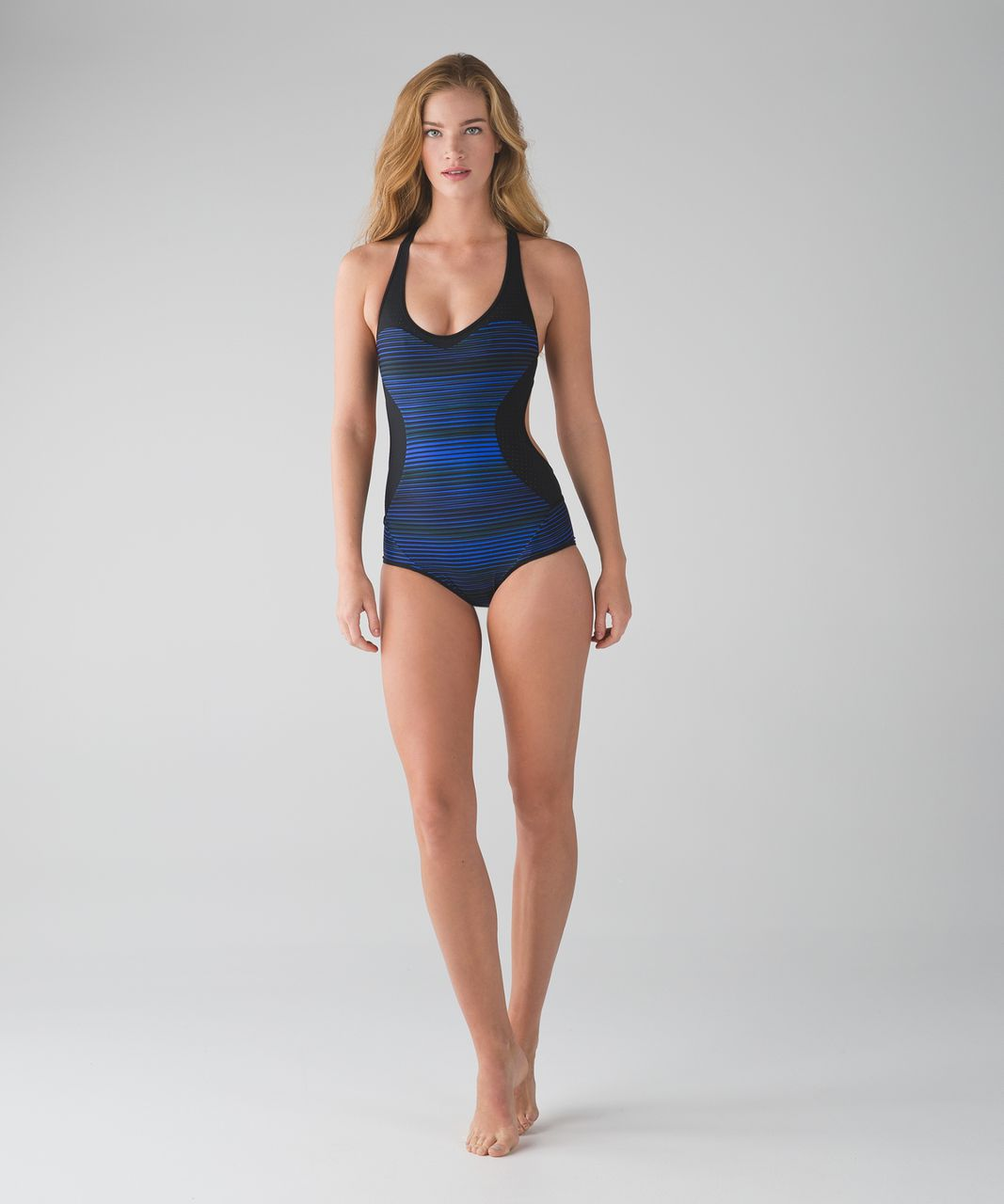 Lululemon Tidal Flow Racerback One Piece - Twisted Dune Harbor Blue Black / Black
