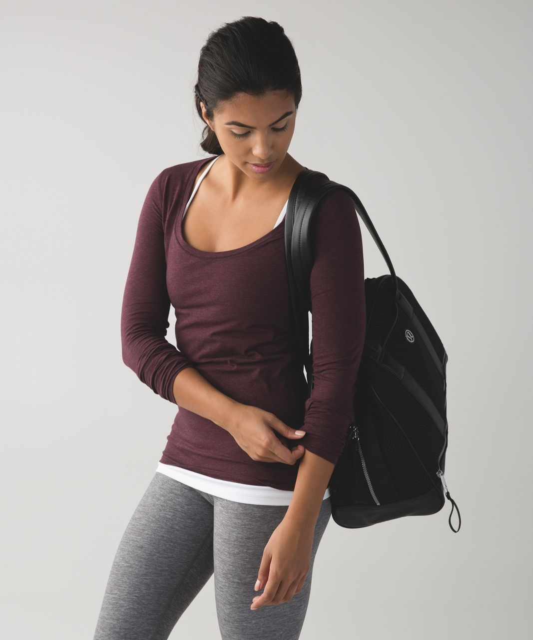 Lululemon Anahatasana Long Sleeve Tee - Heathered Bordeaux Drama