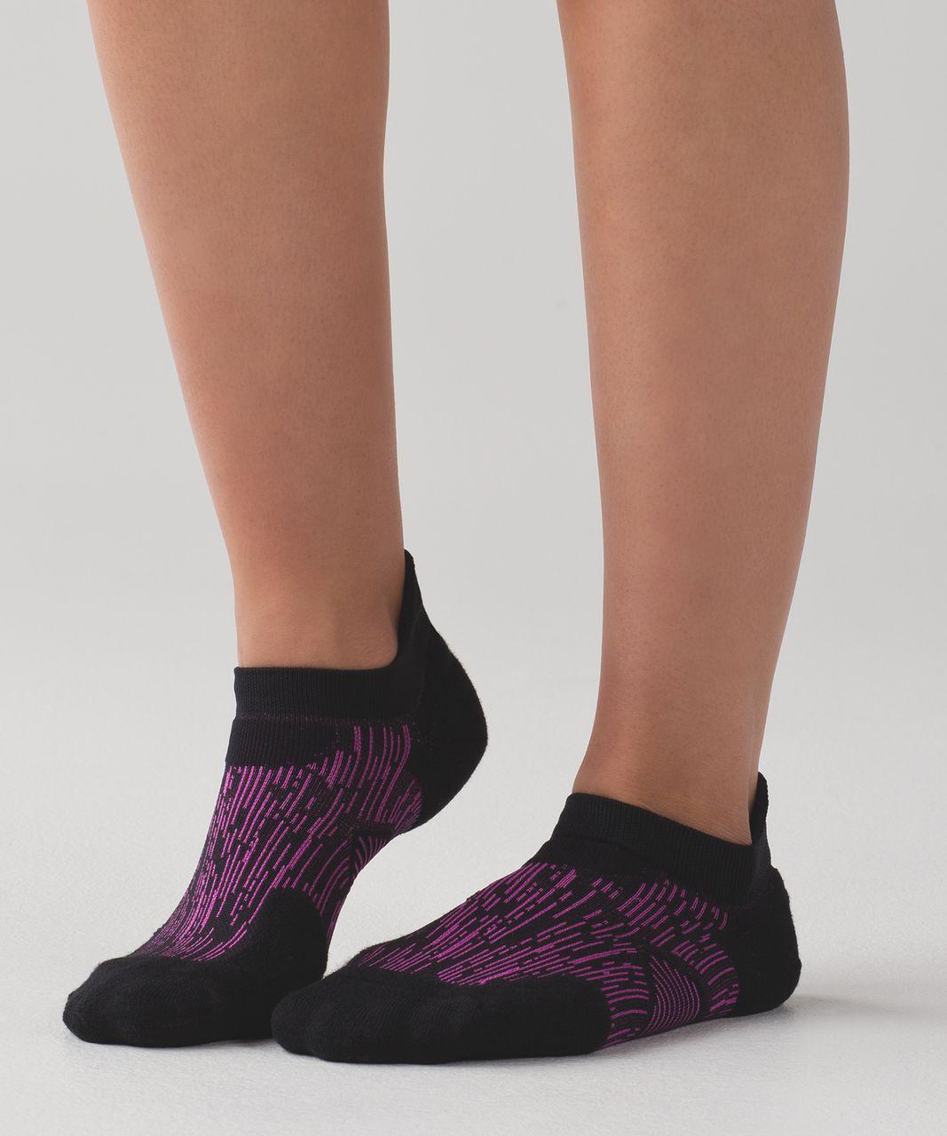 Lululemon High Speed Sock (Silver) - Black / Polar Pink / Pow Pink