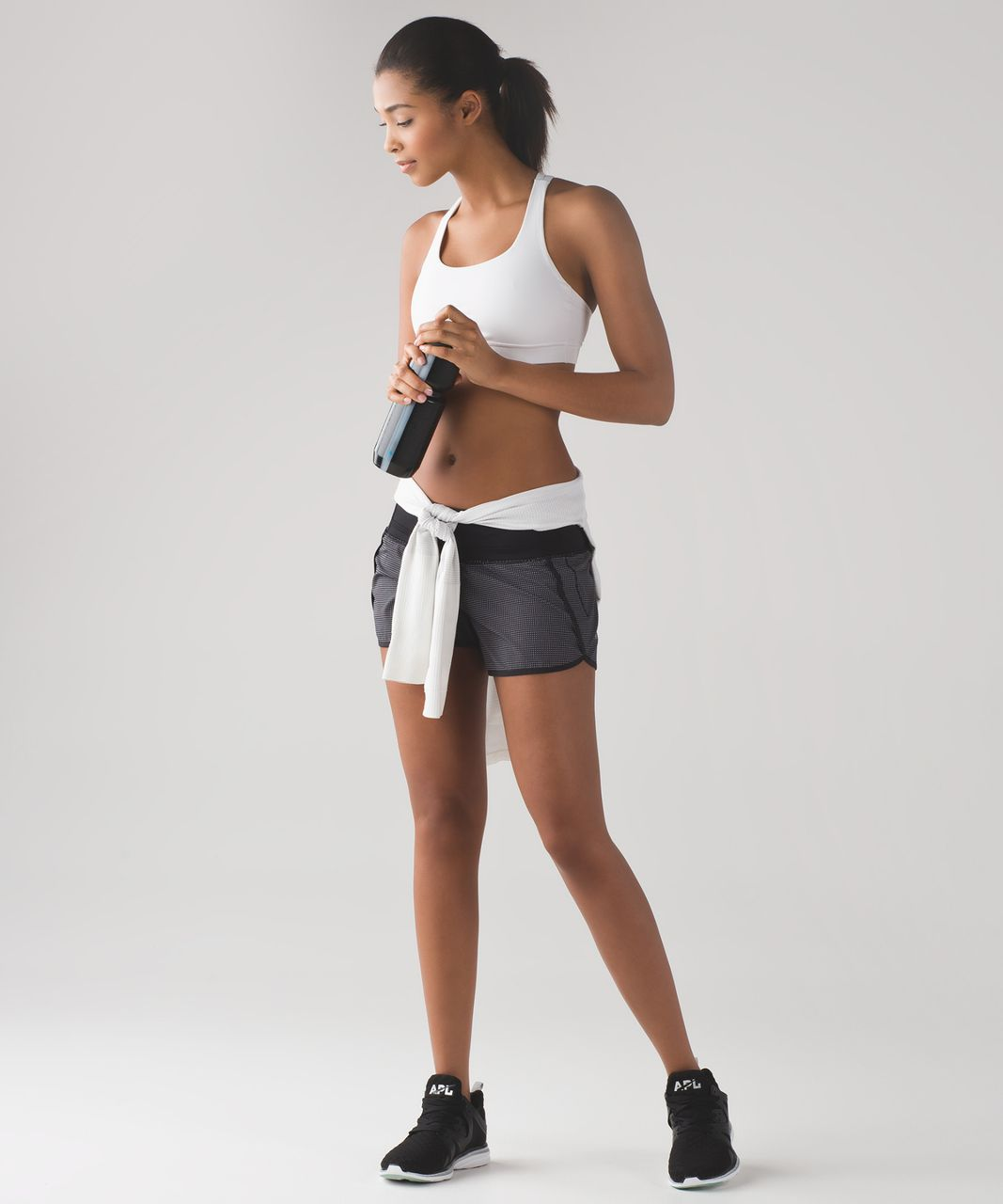 "Lululemon Run Times Short (4-way Stretch 4"") - Teeny Check Print White Black / Black"