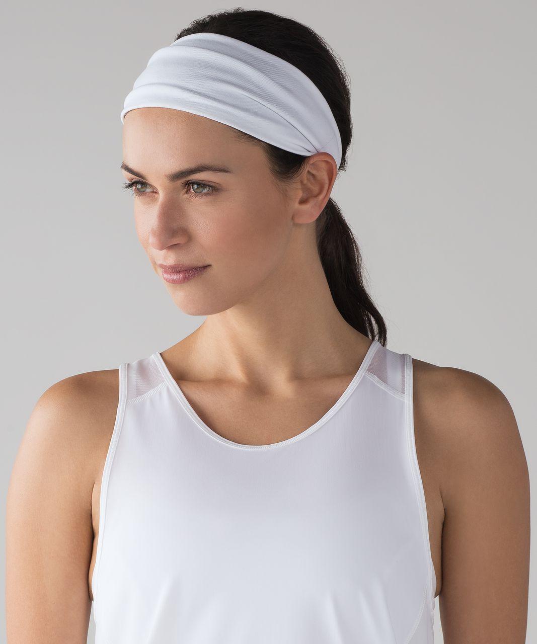 Lululemon Fringe Fighter Headband - White / Sheer Luon Pebble Jacquard V2 Arctic Grey Ice Grey