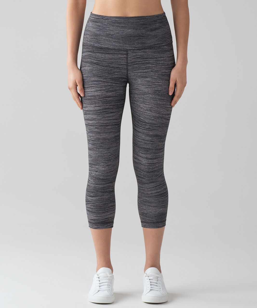 "Lululemon Wunder Under Crop (Hi-Rise) (Full-On Luon 21"") - Bit Point Ice Grey Black"