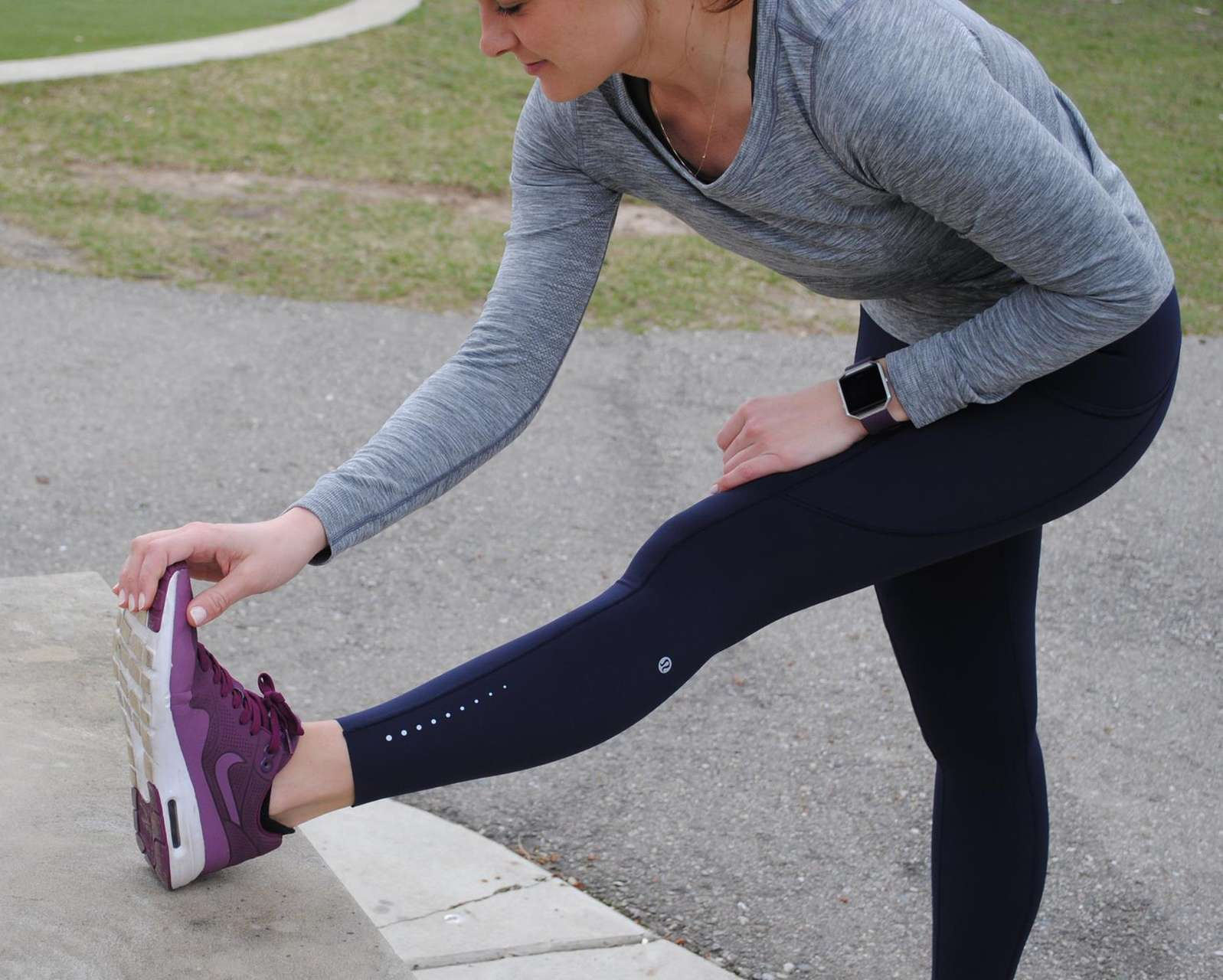 Lululemon Swiftly Tech Long Sleeve (Breeze) *Relaxed Fit - Slate / White (First Release)