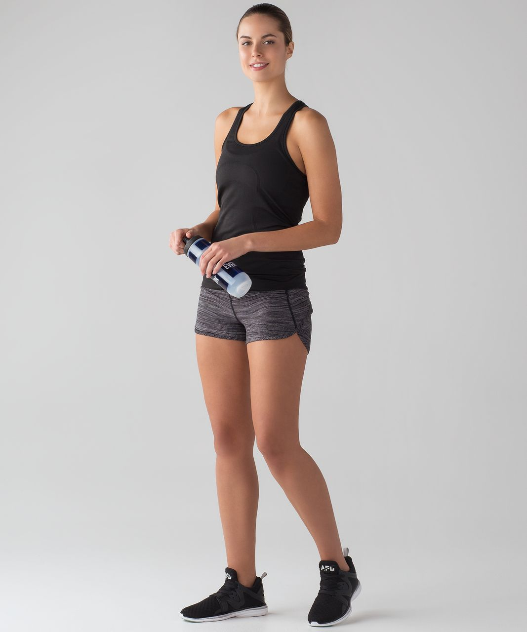 "Lululemon Speed Short (4-way Stretch 2.5"") - Bit Point Ice Grey Black / Black"