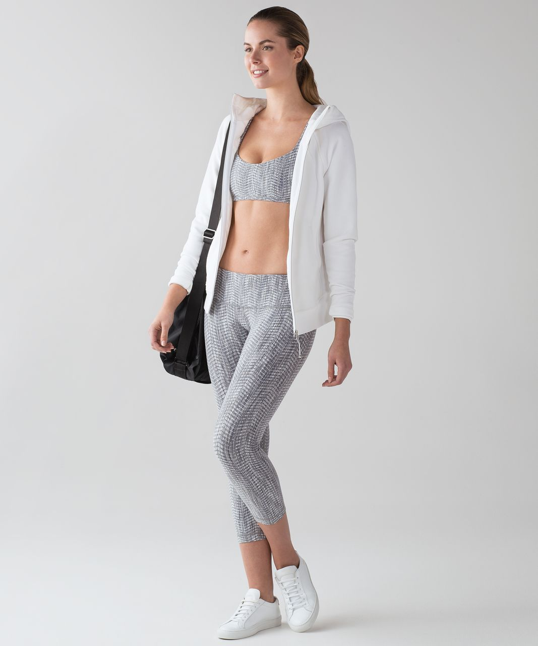 "Lululemon Wunder Under Crop III (21"") - Luon Arrow Jacquard Battleship Silver Spoon"