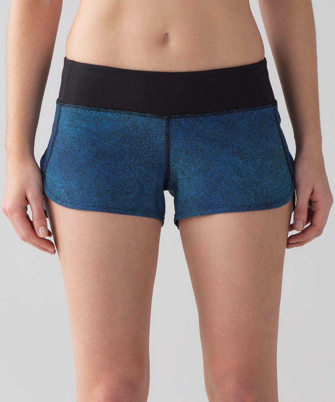 "Lululemon Speed Short (4-way Stretch 2.5"") - Super Natural Blue Multi / Black"