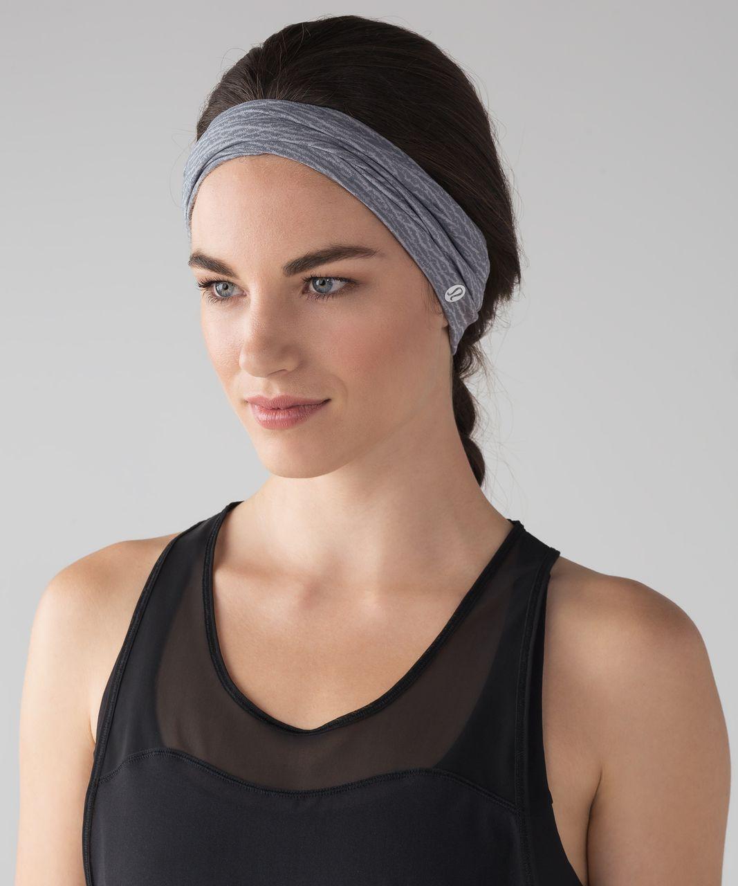 Lululemon Meshed Up Headband - Sheer Luon Pebble Jacquard V2 Arctic Grey Ice Grey / White