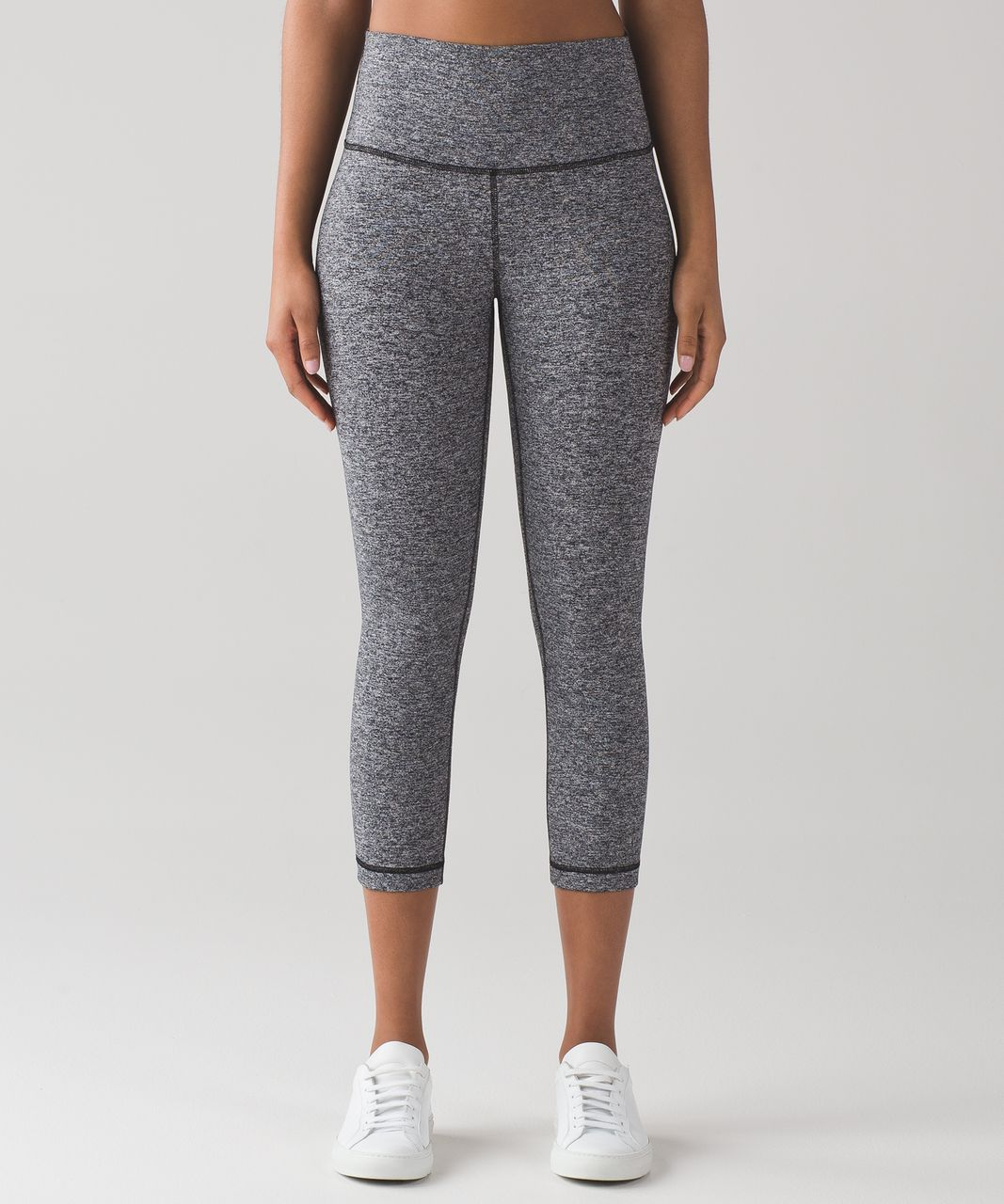 "Lululemon Wunder Under Crop (Hi-Rise) *21"" - Heathered Black"