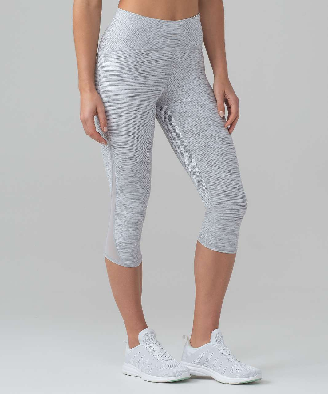 """Lululemon Train Times Crop (17"""") - Wee Are From Space Ice Grey Alpine White"""