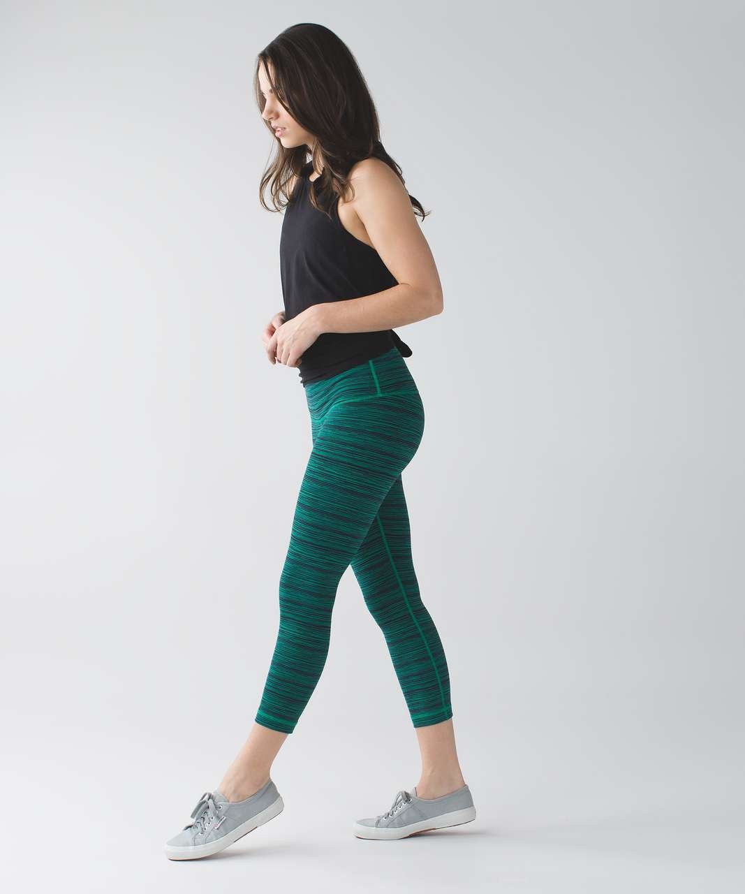 "Lululemon Wunder Under Crop (Hi-Rise) *21"" - Cyber Jungle Hero Blue"