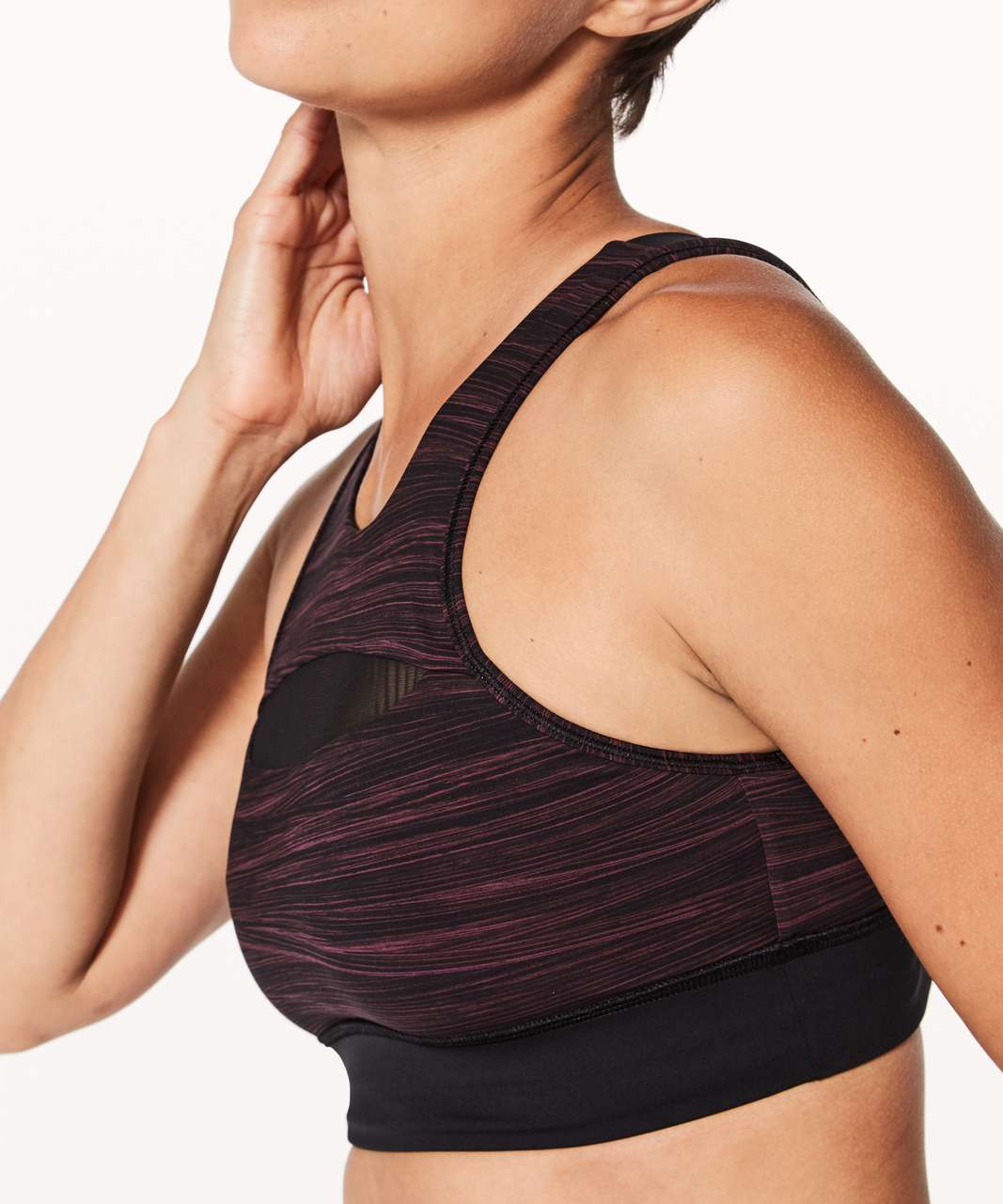 Lululemon Run The Day Bra - Low Tide Blush Berry Black / Black