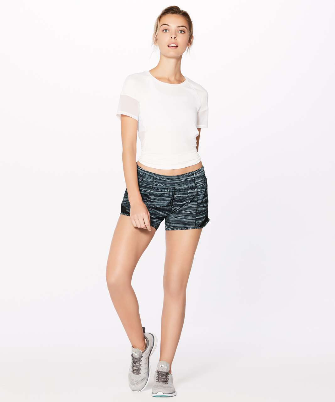 "Lululemon Hotty Hot Short II (Long 4"") - Low Tide Alpine White Black / Black"