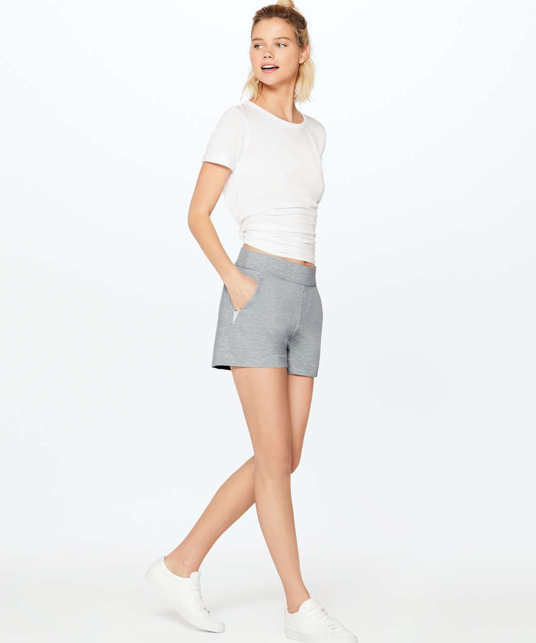 "Lululemon Minimal Short (3"") - Heathered Power Grey / White"