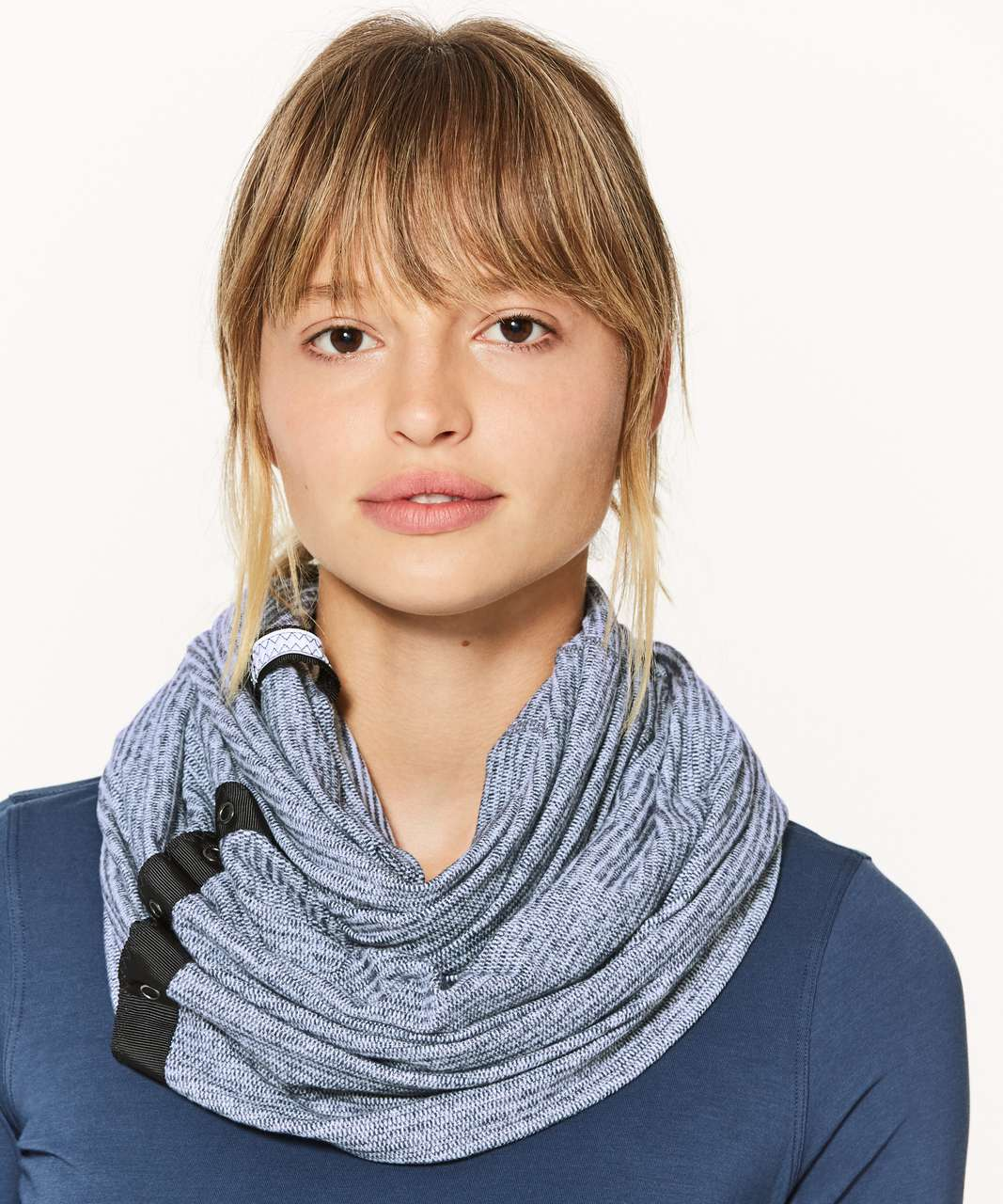 Lululemon Vinyasa Scarf *Rulu - Mini Check Pique Sea Mist Heathered Deep Navy