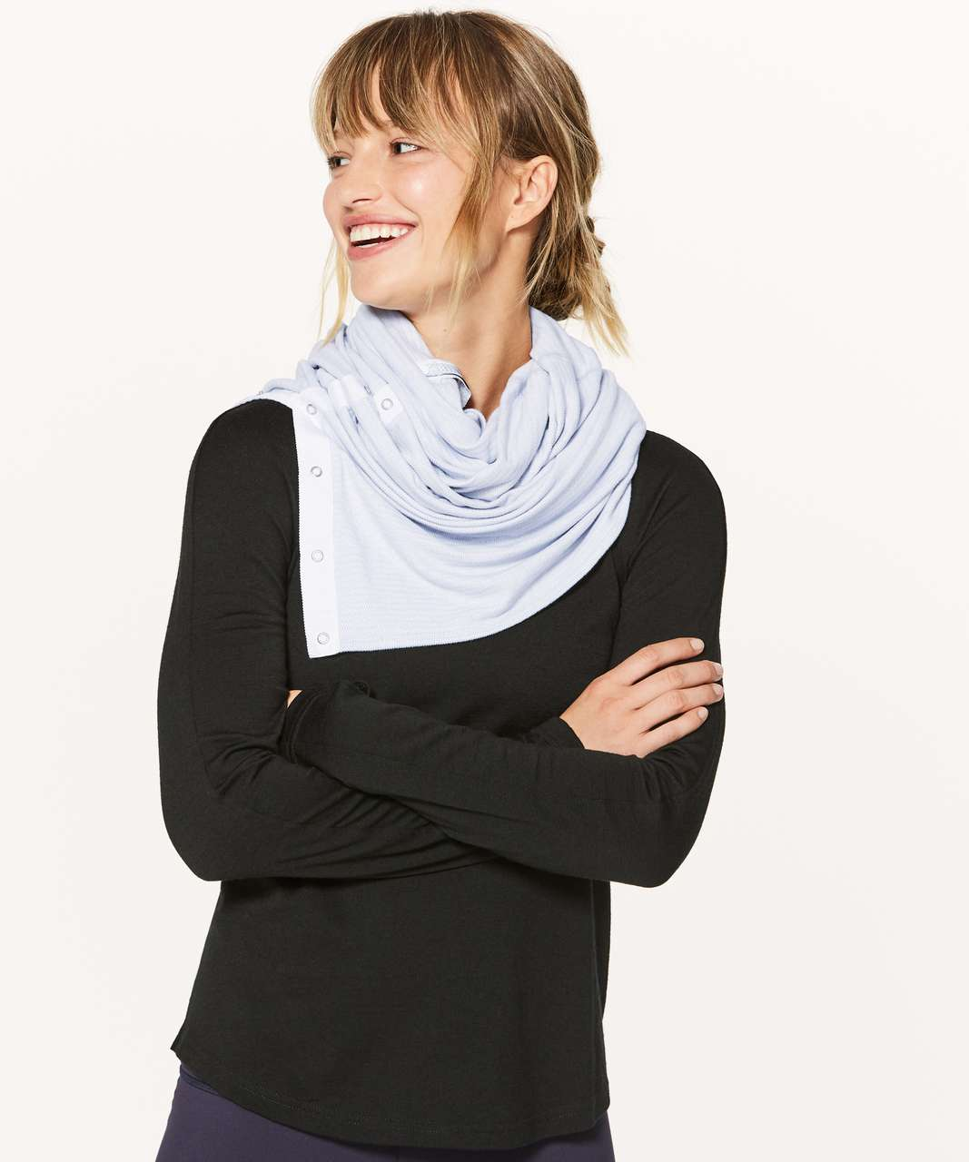 Lululemon Vinyasa Scarf *Rulu - Mini Check Pique White Heathered Silver Fox