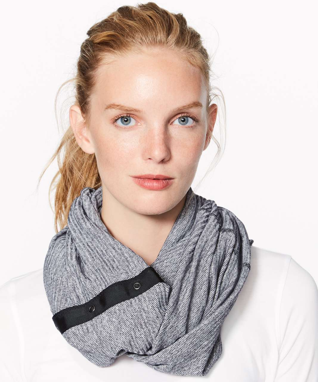 Lululemon Vinyasa Scarf (Rulu) - Mini Check Pique White Heathered Black