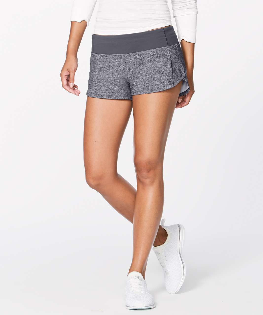 "Lululemon Speed Up Short (2.5"") - Heather Lux Multi Black / Dark Carbon"