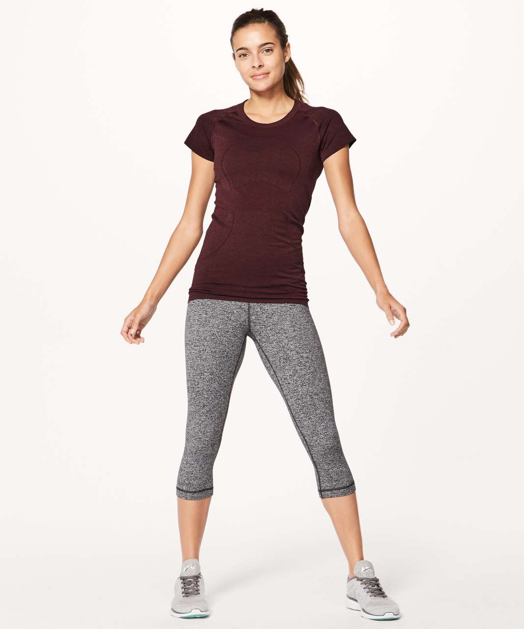 Lululemon Swiftly Tech Short Sleeve Crew - Deep Rouge / Black