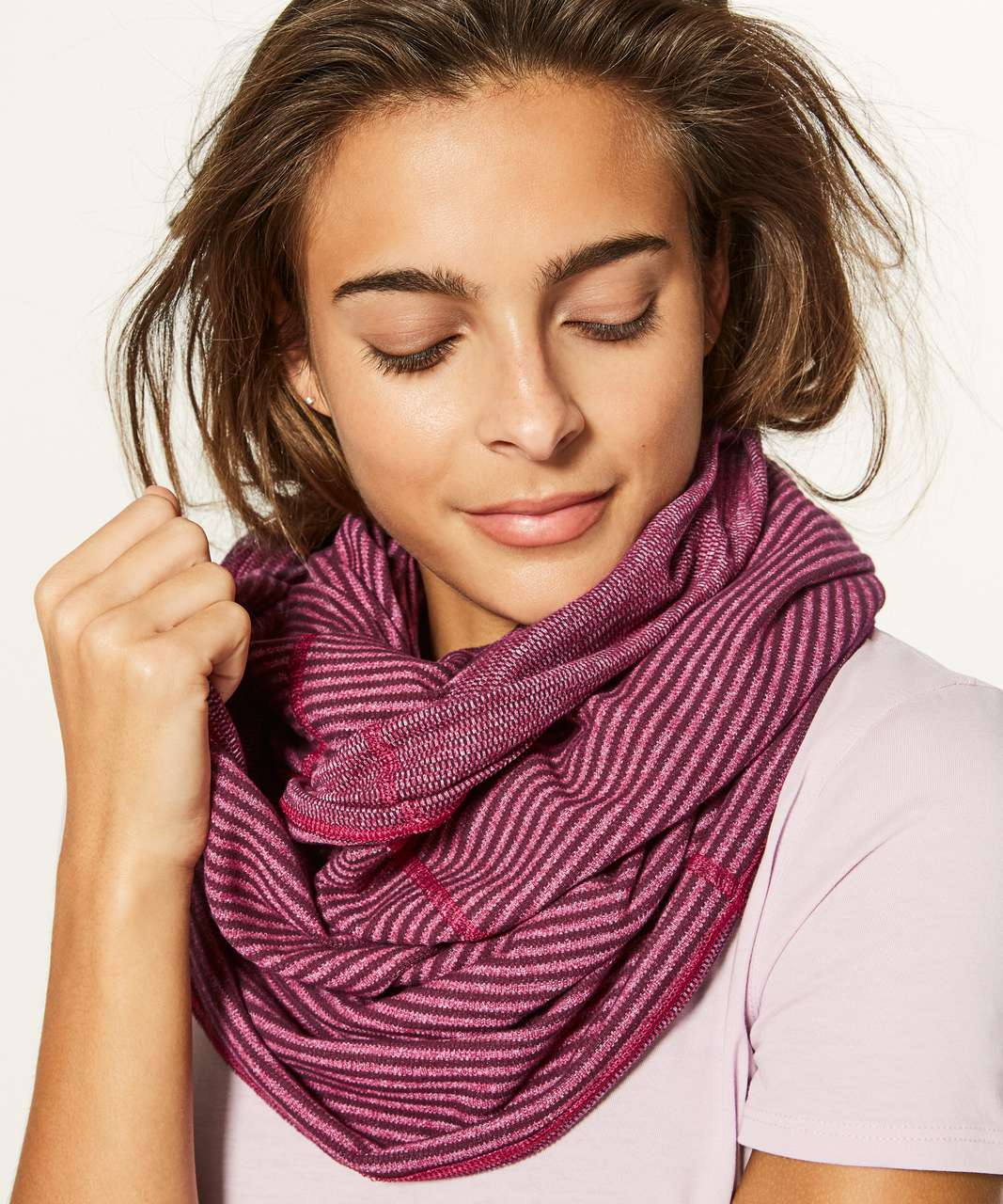 Lululemon Vinyasa Scarf *Rulu - Mini Check Pique Bordeaux Drama Heathered Berry Rumble