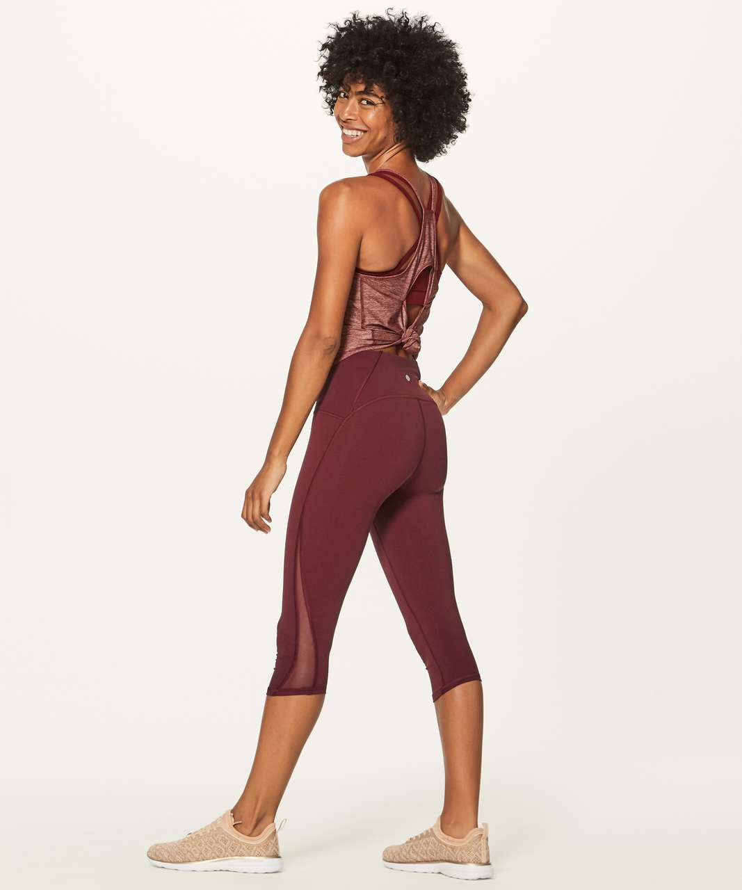 "Lululemon Train Times Crop (17"") - Deep Rouge"