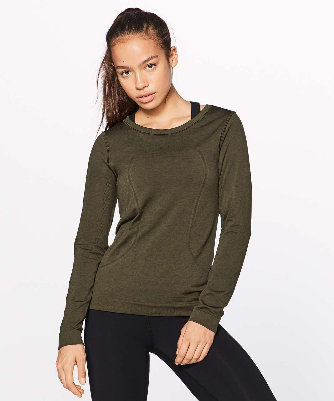 Lululemon Swiftly Tech Long Sleeve (Breeze) (Relaxed Fit) - Dark Olive / Dark Olive
