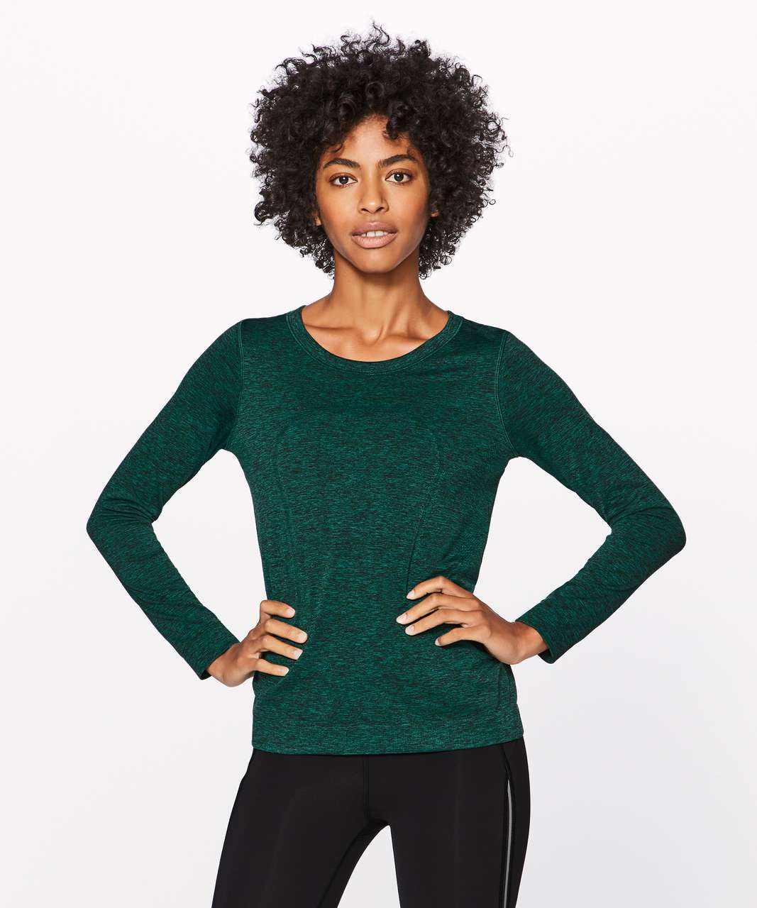 Lululemon Swiftly Tech Long Sleeve (Breeze) (Relaxed Fit) - Teal Green / Black