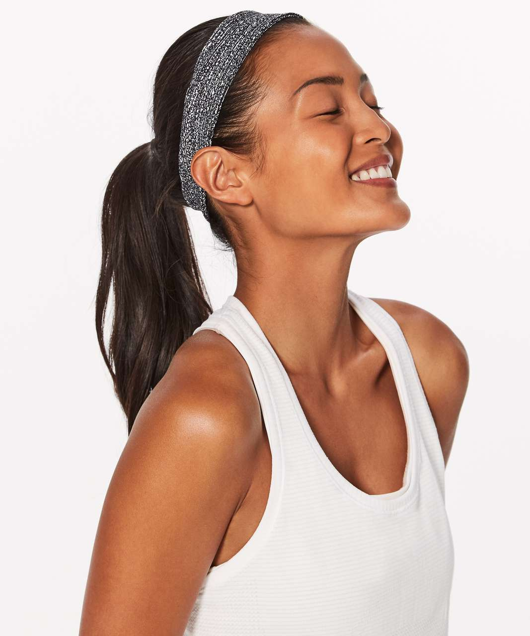 9acfd807bf4 Lululemon Fly Away Tamer Headband II *Luxtreme - Salt Alpine White Black -  lulu fanatics