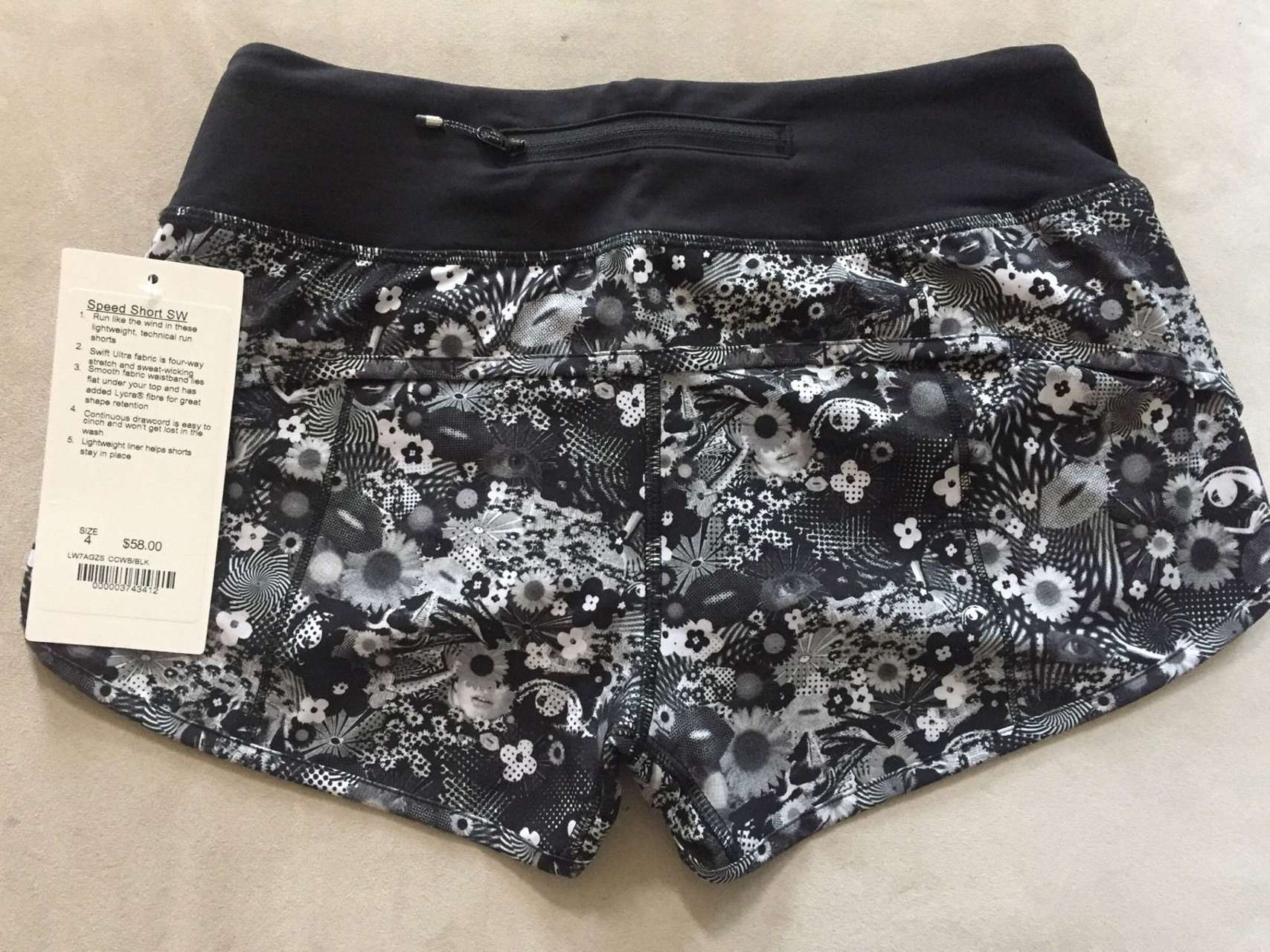 Lululemon Speed Short *SW - 2017 Seawheeze - Counter Culture White Black / Black
