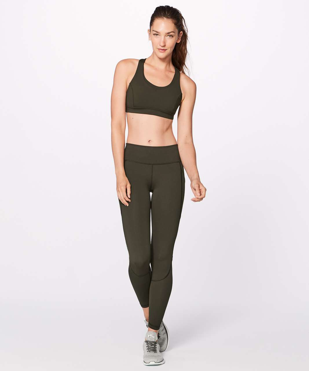 332392b27ff72 Lululemon Run On Bra - Dark Olive - lulu fanatics