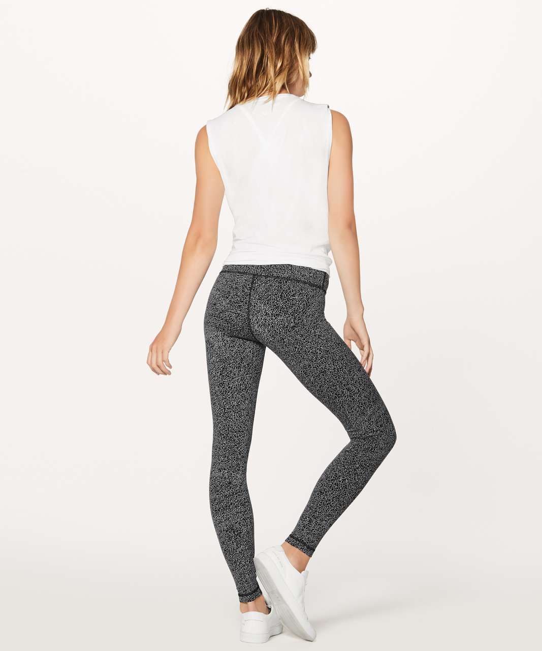 "Lululemon Wunder Under Hi-Rise Tight (28"") - Luon Crackle Jaquard Black White"