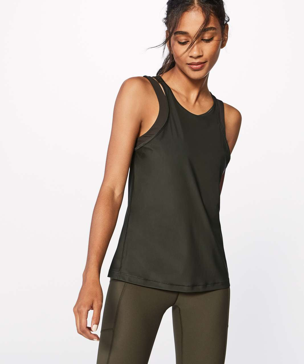 Lululemon In Your Pace Tank - Dark Olive