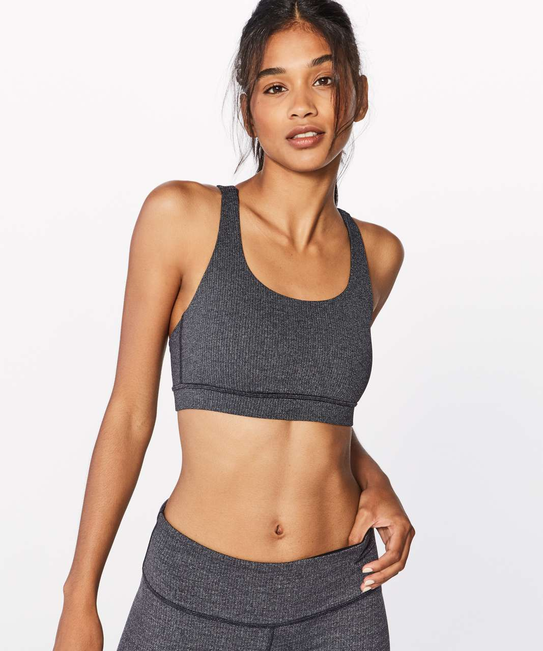 Lululemon Energy Bra - Power Luxtreme Variegated Knit Black Heathered Black