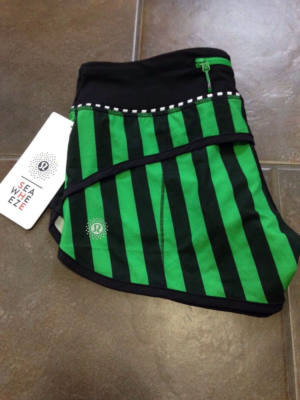 Lululemon Speed Short - 2015 Seawheeze - Green/Black Vertical Stripe